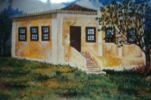 Casa de Ignacio Antônio da Silva, Belém Novo, casa que existia ao lado do Hotel Cassino. Foto de pintura enviada por Cristiano Ignacio da Silveira Goulart, tetraneto do fundador de Belém.