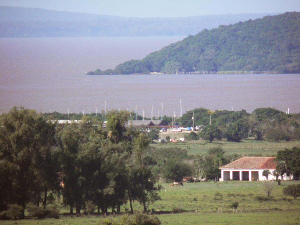 Mastros dos barcos na Marina do Lessa, atrás da Ponta do Arado e quase em frente à ilha Francisco Manoel.
